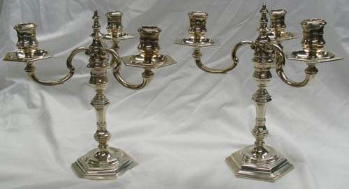 Image of Lot  549  - A pair of silver 3 branch candelabra in 18th century style, London 1957, approx 2320gr