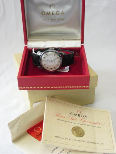 Image of Lot  492  - An Omega Seamaster gents steel cased wristwatch having automatic cal. 552 movement on Omega black leather strap with Omega pin buckle, in original boxes with papers c1960. Case unopened.