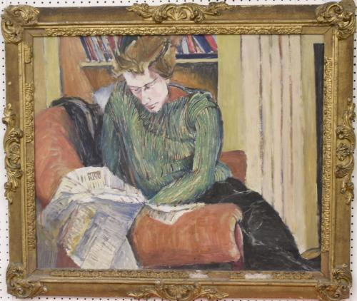 Image of Lot   59  - A portrait of a lady seated in a red chair, reading a newspaper, oil on board, inscribed Gilbert Spencer and bearing a stencil mark (HP189) verso - reputedly an old Christies number, 58 cm x 70 cm.