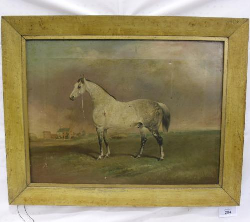 Image of Lot  284  - A grey horse in landscape with houses in the distance. English school horse portrait, 19th century, inscribed T.C. Freeman.