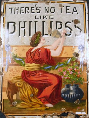 Image of Lot   73  - ''There's no tea like Phillips's'' large enamel sign circa 1910. A/f.