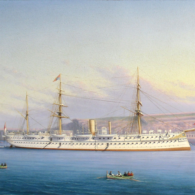 Image of Lot 72 - HMS Serapis as Edward Prince of Wales's royal visit ship, portrait oil on canvas bearing inscription Cairo 1876