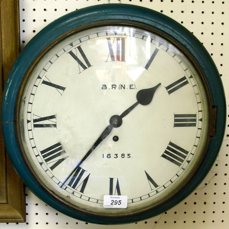 Image of Lot 295 - A Railways fuse wall clock, wooden case back bearing letters NLR, dial signed B.R. (N.E)