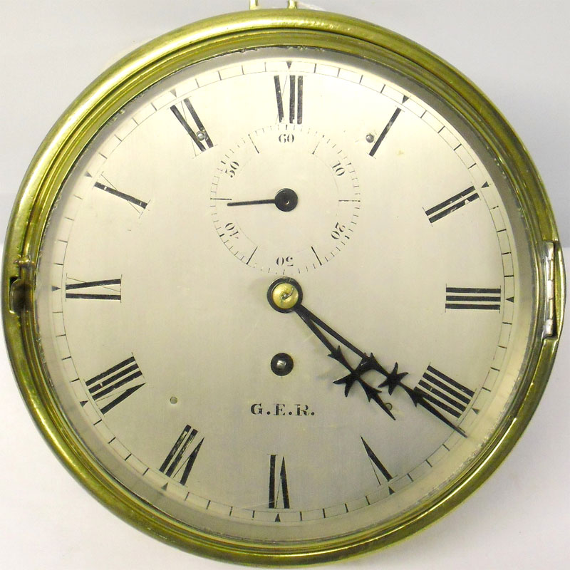 Image of Lot 291 - A railways interest bulkhead clock, dial & movement signed GER