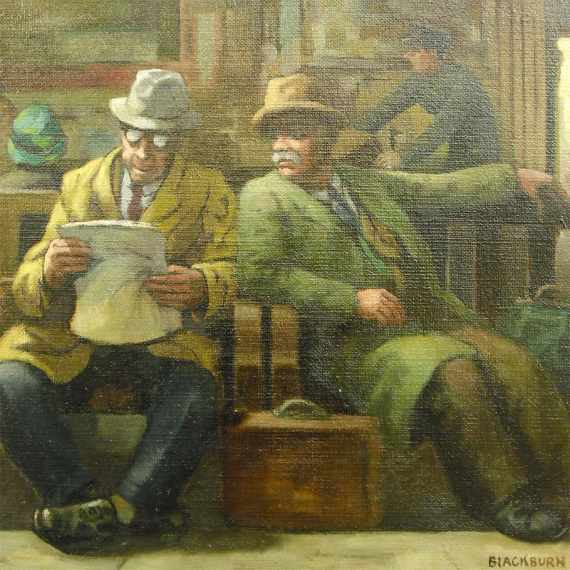 Image of Lot 98 - Waiting, oil on board railway scene, Harold Blackburn.