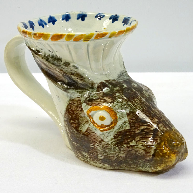 Image of Lot 309 - A Prattware hare's head rhyton cup, c1800