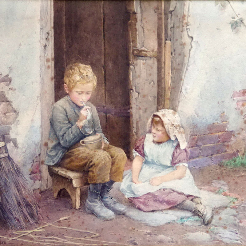 "Image of Lot 539 - Blowing Bubbles, watercolour genre painting bearing signature ""C. E. Wilson '98"""