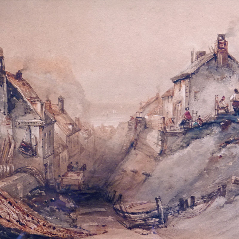 Image of Lot 542 - Staithes street scene, watercolour coastal view bearing signature H.B. Carter, a/f foxed