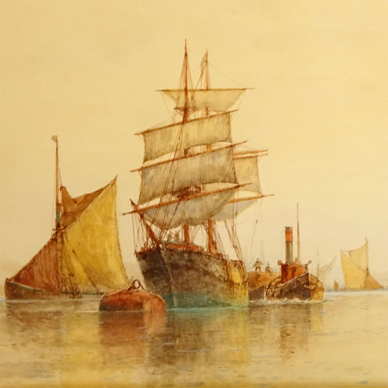 "Image of Lot 683 - ""On the Thames"" watercolour bearing signature F J Aldridge; two similar marine paintings by the same hand"