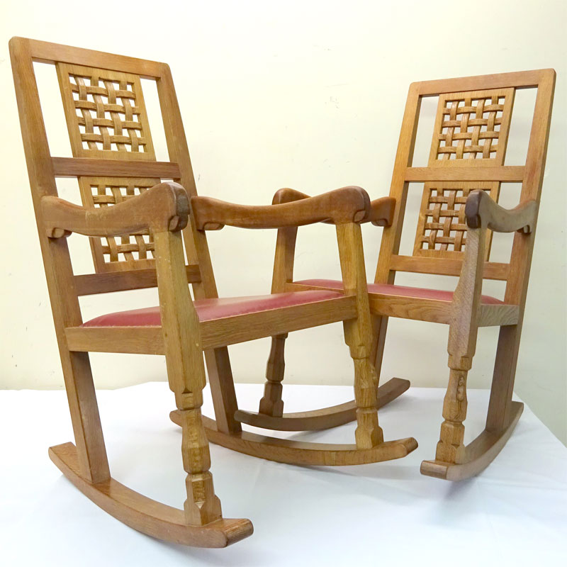 Image of Lot 858 - A pair of Mouseman oak lattice back rocking chairs
